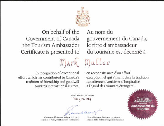 Tourism-Ambassador-Certificate-For-Mark-Mueller-At-Royal-York-Hotel-From-Federal-Government-Of-Canada.jpg